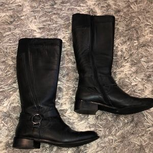 Black riding boots. True to size. Size 7 1/2.